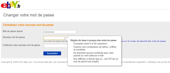 eBay - Règles sur les mots de passe