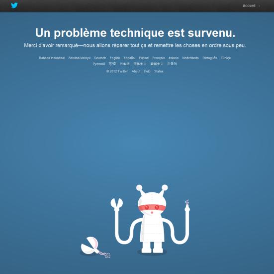 Twitter - Page d'erreur suite à un problème technique