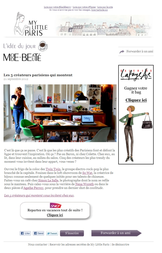 La newsletter de My Little Paris chouchoute ses mobinautes