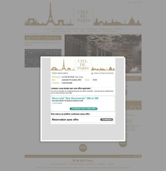 Ciel de Paris - Module de réservation