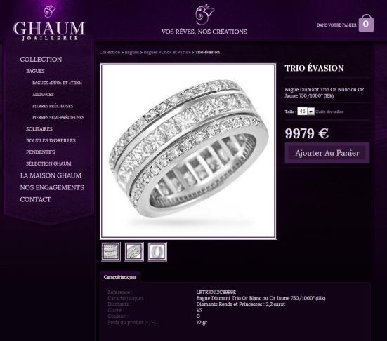 GHAUM - Une fiche produit avec le prix affiché