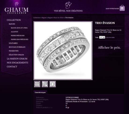 GHAUM - Une fiche produit avec le prix masqué