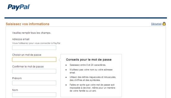 Paypal - Affichage des conseils et des consignes pour créer un mot de passe