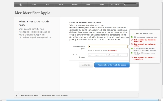 Les bonnes pratiques d'Apple pour la création d'un mot de passe