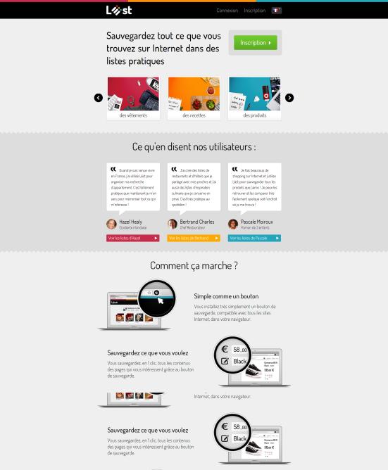 Liiist - Page d'accueil minimaliste avec de gros éléments
