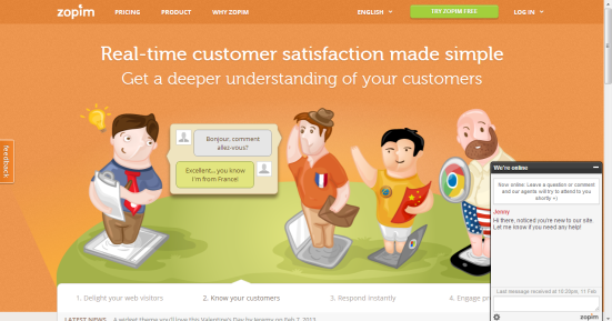 Zopim - Service de chat en ligne pour aider les utilisateurs
