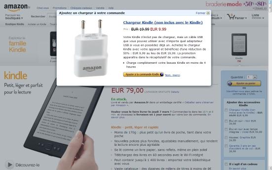 Amazon - Proposition d'acheter un produit complémentaire