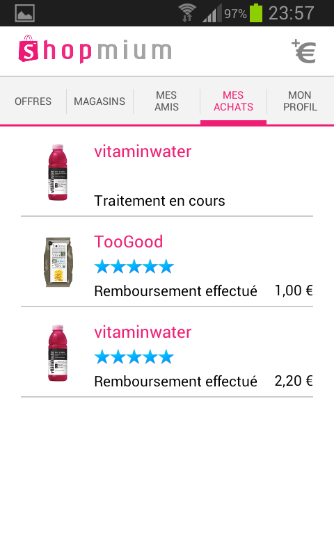 Shopmium - Liste de vosachats avec leur état