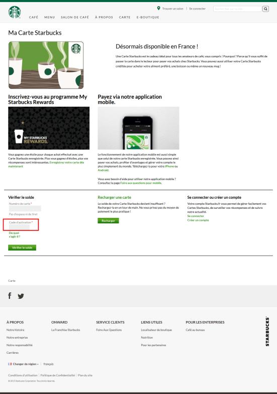 Starbucks : page d'accueil pour activer sa carte